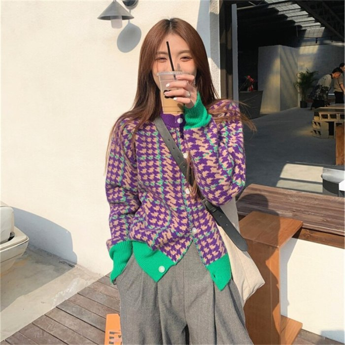 Vintage Knitted Cardigans Women Sweaters Button Plaid Sweater Coat 2021 New Autumn Spring Korean Lady Cardigans Sweater Clothes