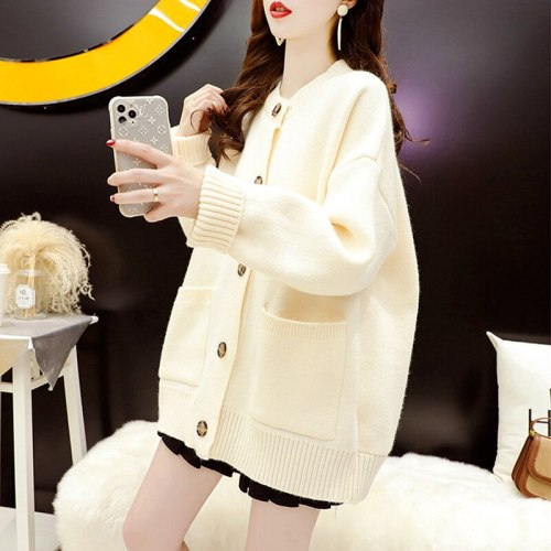 Sweater cardigan ladies 2021 new autumn and winter solid color back florets loose long-sleeved round neck knitted jacket women