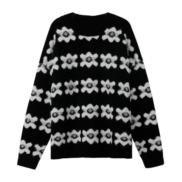 Flower Sweater Women's Autumn/winter 2021 New Casual Loose Pullover Round Neck Long-sleeved Thick Knitted Top