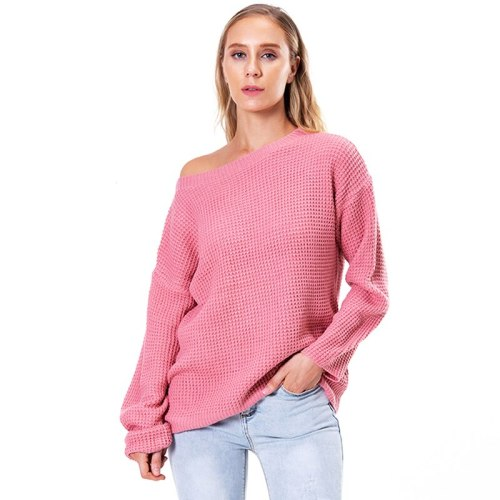 2021 Women's Winter Clothing Fall Winter Slash Neck One Shoulder Off Loose Sweater And Pullover Oversized Knitwear
