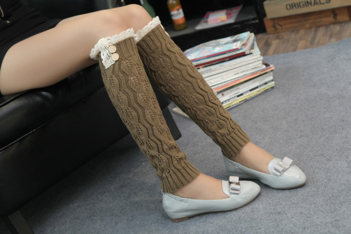 New arrival Knit Mid Leg Warmers Solid Color Crochet Thermal Boots Cuff Socks