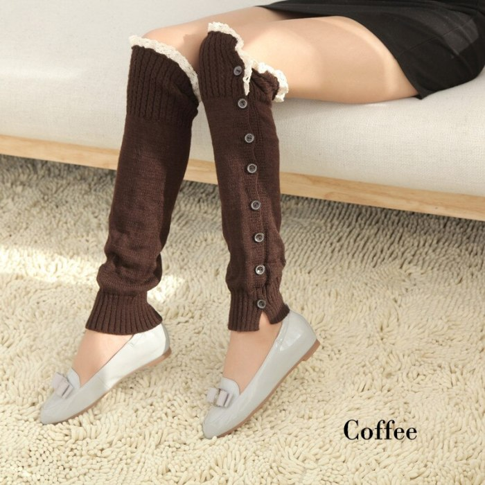 Lovely Knitted Women Long Leg Warmer 2021 Winter Lady Lace Patchwork Button Cute Stretch Sock Knit Basic Y2k Accessories