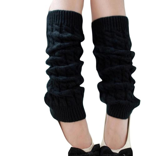 Punk Solid Black Cool Knit Long Socks Women Outdoor Knee High Elastic Leg Warmers Lady Warm Slim Gothic Hip-hop Rock Sock
