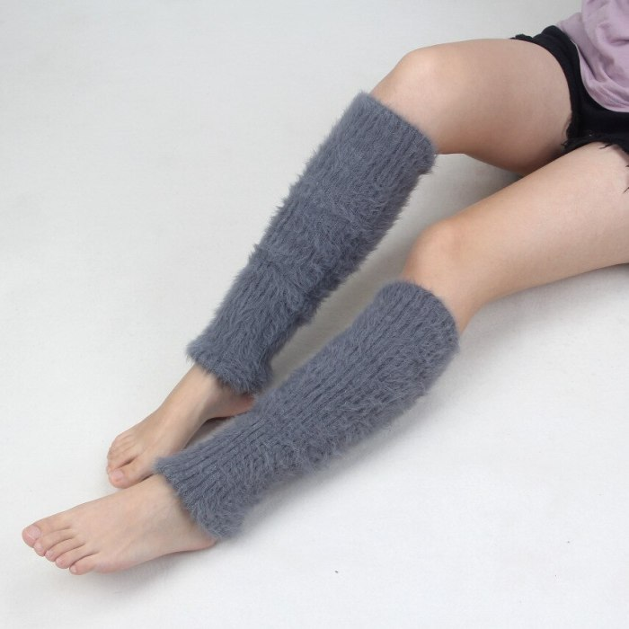 Korea Style Women Winter Warm Solid Soft Stockings Female Thick Over Knee Leg Warmers Knitted Womens Gaiters Beenwarmers