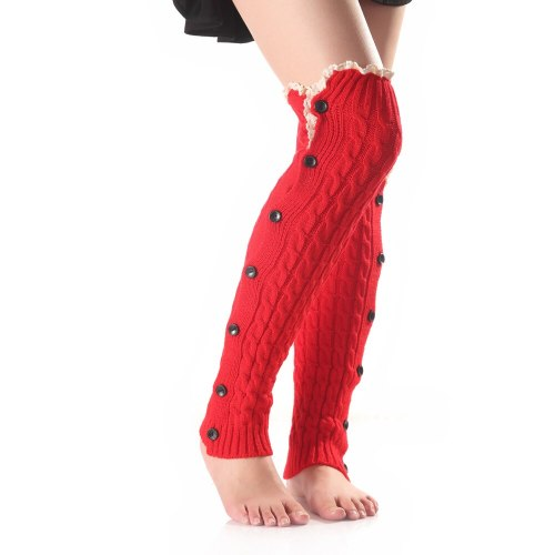 New Women Solid Knit Winter Warm Button Lace Ladies Leg Warmers Knee High Leg Girls Soft Warm Knitted Boot Cuffs Socks