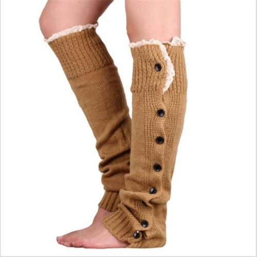 New Hot-sale Button Lace Women Leg WarmersKnitted Winter Boots Socks Cuffs Fashion Knee High Polainas Ladies' Beenarmers