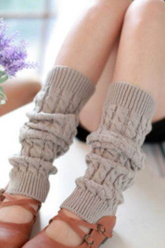 Hot Fashion Leg Warmers Women Solid Warm Knee High Winter Knit Solid Crochet Leg Warmer Socks Warm Boot Cuffs Long Socks