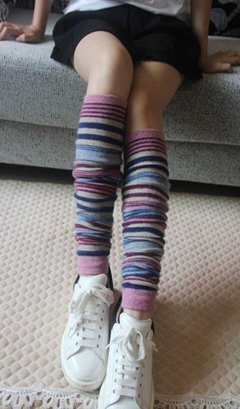 Women Winter Tube Socks Boots Wool Knitting Breathable Leg Warmers Striped Fashion High Thigh Long Boots