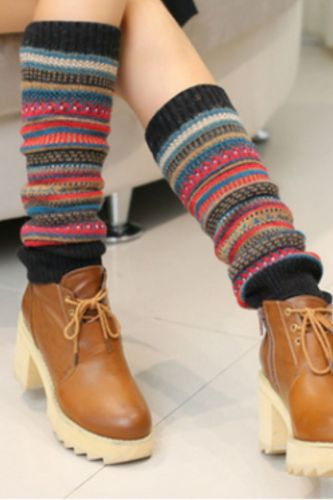 Antique Color Stripes Fashion Women Knitted Socks Long Gaiters Boots Women Winter Warmer Boho Fashion Warmth