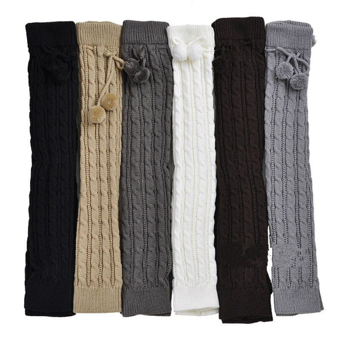 Women Girls Winter Braided Cable Knit Thigh High Long Leg Warmers Solid Color Crochet Thermal Boots Cuff Socks with Pompom Ball