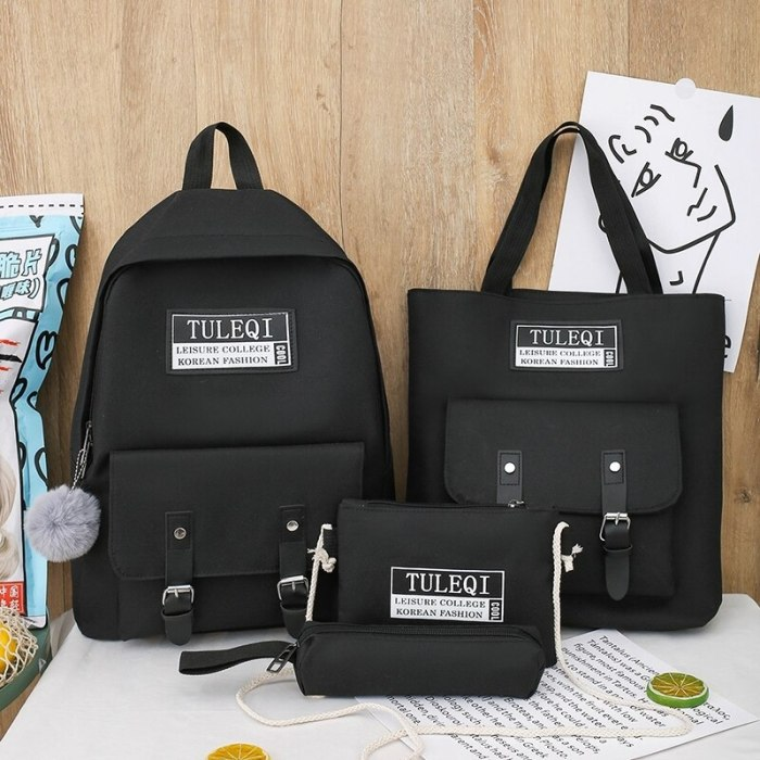 4 piece set Casual Backpacks Cute School Bags For Teenager Girl Women Backpack Fashion Nylon Shoulder Bags For Teenager Mochilas