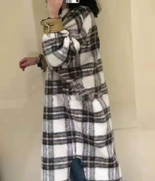 2021 Autumn / Winter Coats & Jackets Large Shape Brushed Pocket Wool Women's Isabel Wool & Blend Plaid Gabrion Blanket Coat
