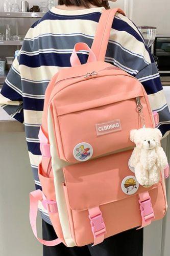 4 Pcs Set Harajuku Women Laptop Backpack Canvas School Bags For Teenage Girls Kawaii College Student Kids Book Bag Rucksack 2021