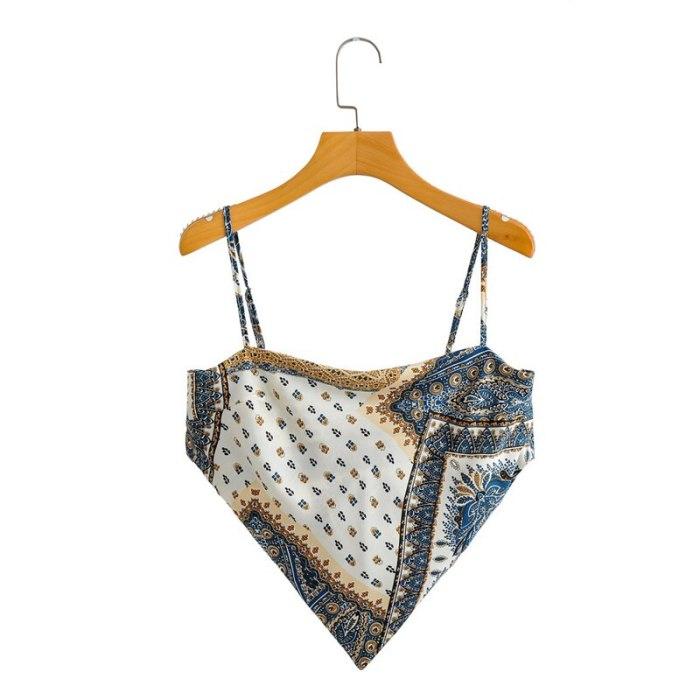 Female Vest Floral Print Sleeveless Spaghetti Strap Tops Backless Blouse for Summer Red Blue Khaki S M L