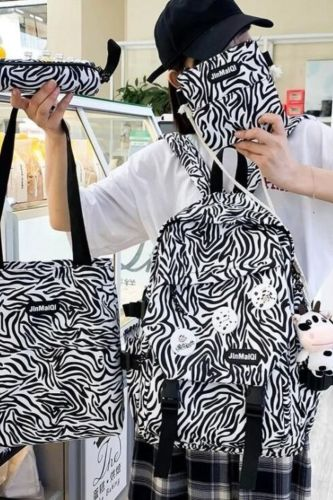 4-piece Set Cow Pattern Fashion Women's Backpack Nylon Waterproof Schoolbag For Girls Large-capacity Travel Bags