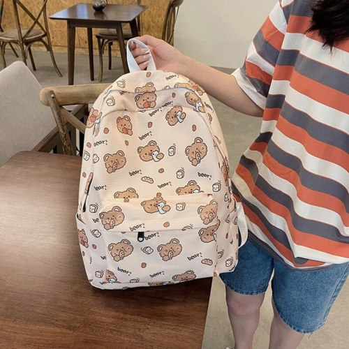 Women College style funny bear school bag bunny planet rocket spaceman girl student backpack lady cute shoulder bag