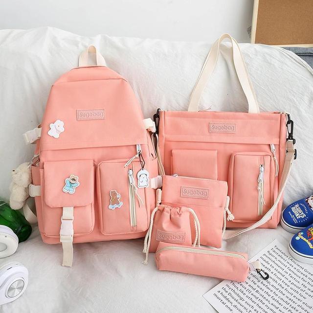 5 Pcs Set Backpacks Cute School Bags For Teenage Girls Women Backpack Casual Canvas Teen Student Shoulder Bags Mochila Escolar