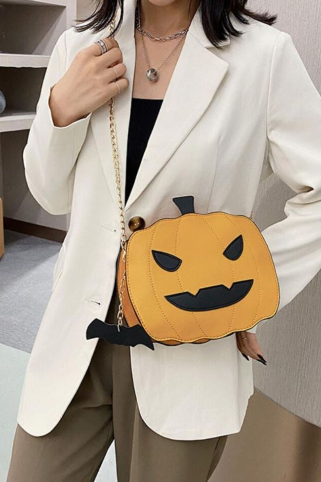Women's Shoulder Bag Spoof Pumpkin Bat Leather Messenger Bag Funny and Funny Personality Three-dimensional Cartoon Shoulder Bag