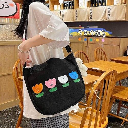 Korean Women Cute Cartoon Shoulder Bag Funny Flower Contrast Color Girl Student Canvas Messenger Bag