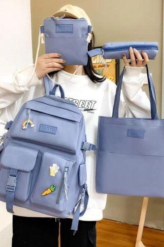 5 Piece Set Casual Backpacks New School Bags For Teenage Girls Women Backpack Canvas Travel Bookbags Teen Student Shoulder Bag