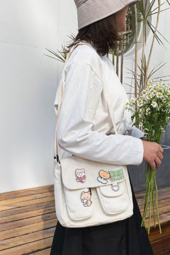 Shopping Bags Women Sweet Kawaii Printed Canvas Leisure Daily Shop Bag Crossbody Purse New