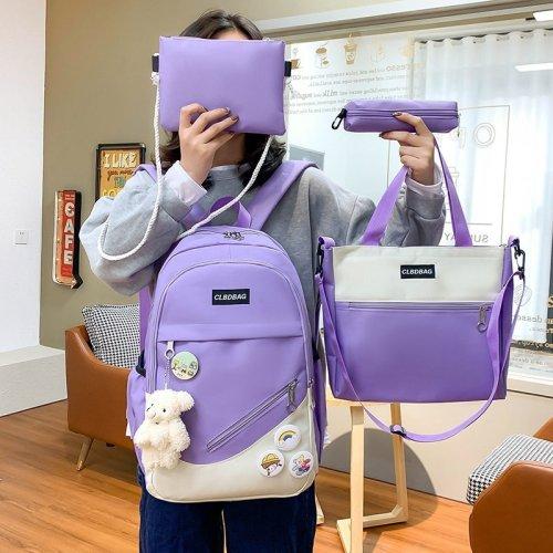 4 pcs sets Casual Backpacks canvas Schoolbags For Teenager Girls Women Backpack Contrast Color Kawaii Student Kids Shoulder Bags