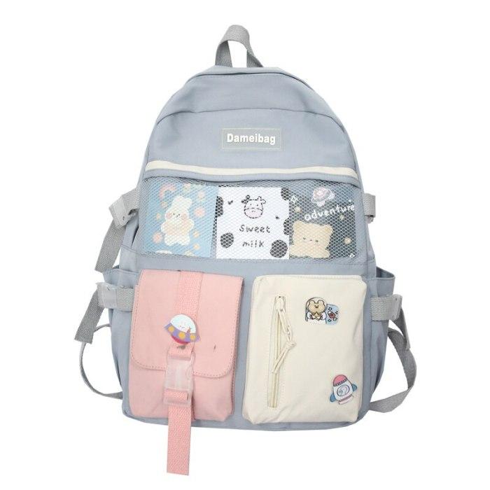 Contrast Color Women Backpack Teenager Girls Students Schoolbag Shoulders Book Bagpack Transparent PVC Cartoon Cute Card Bag