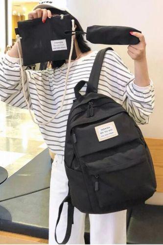 3 set Fashion Backpack Solid Color Casual Women Backpack Teenage Girl School Bag Student Girls Shoulder Bag Casual Mochilas