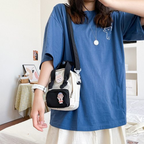 Japanese style, antique style, soft girl, cute cartoon student, casual and versatile, one shoulder bag, color contrast Mini Bag