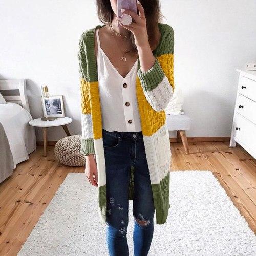 Autumn Winter Women's Stripe Stitching Contrast Color Hemp Cardigan Sweater Women Thick Leopard Cardigan Coat Outwear Tops
