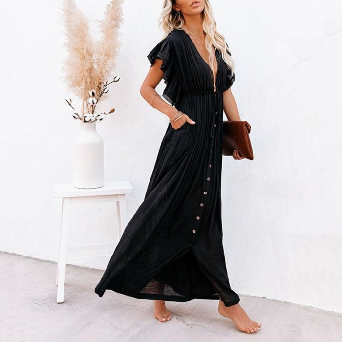 Maxi Dress 2021 Women White Backless Deep V Neck Ruffle Single Breasted Belted Sexy Summer Long Vacation Beach Dress