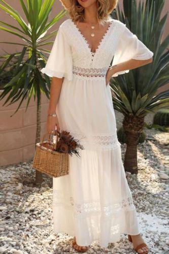 Casual Stitching Embroidery Maxi Dress Bohemian White Summer Short Sleeve Women Beach Dress Sexy V-neck Vestidos