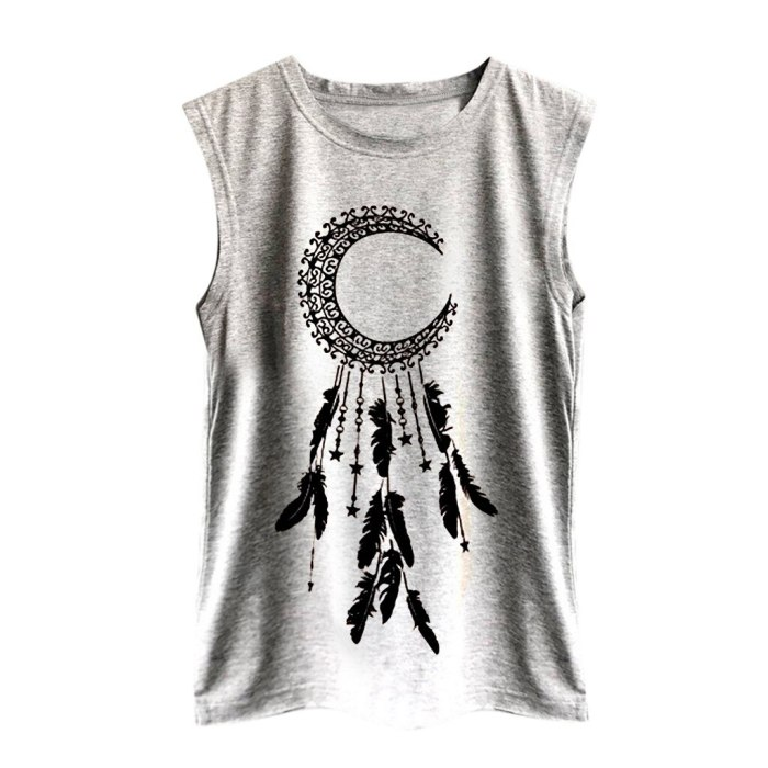 Women Dream catcher Print Vest Casual Loose Top Sleeveless Blouse Girls Summer Wide Strap Tees Tank Sport Pullover Tunic Top