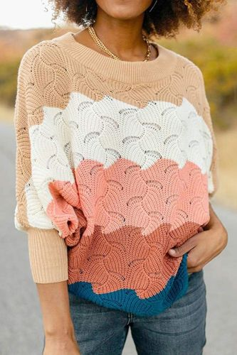 Women Knitted Pullovers 2021 Autumn O-Neck Loose Bating Sleeves Striped Patchwork Hollow Out Pullover Casual Women Sweater