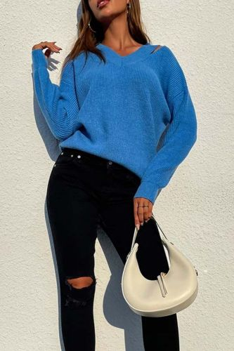 Autumn Solid Color Pulovers Sweaters Women Fashion V Neck Long Sleeve Casual Knitwear Sweater Oversize Jumper Top Winter New