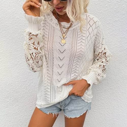 Top Women's Sweater 2021 Autumn Winter New Lace Ruffle Sleeve Stitching Solid Color Hollow Flowers Casual Chic Women's Knitwear