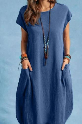 Women Casual O-Neck Short Sleeve Mid-Calf Summer Dress With Pocket Denim Basic Solid Dress Beach Party Loose Dress Holiday