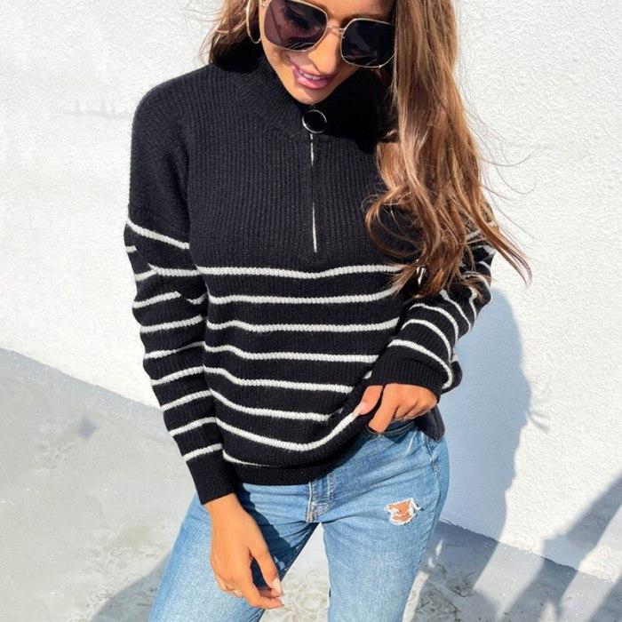 Striped Sweater Women Autumn Winter New Zipper Sweater Pull Femme Oversized Long Sleeve Cashmere Loose Jumper