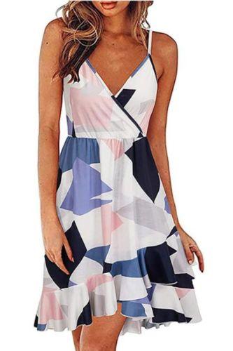 Summer dress 2021 Women's V-Neck Floral Print Strap Summer Casual Swing Dress With Ruffle Dress midi dress dresses сарафан