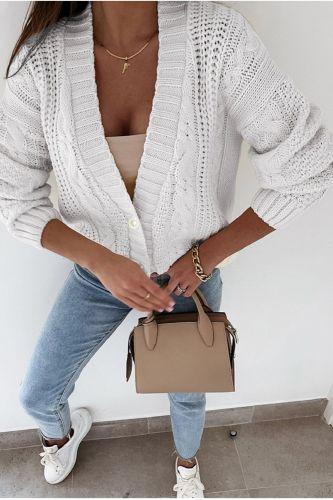 Autumn Women's Cardigan Sweaters Vintage Chic Knitted Jumpers Female Long Sleeve Knitwear Fashion Solid V Neck Sweater 2021