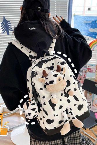 Cute Milk Cow Backpack Kawaii Canvas Teenage Students Casual Schoolbag Large Shoulder Bag Bookbag Women Vintage Simple 2021
