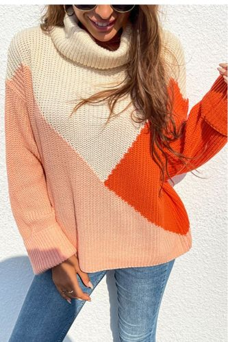 Top women's knitted sweater pullover 2021 autumn and winter new loose contrast high neck elegant fashion warm pullover sweater