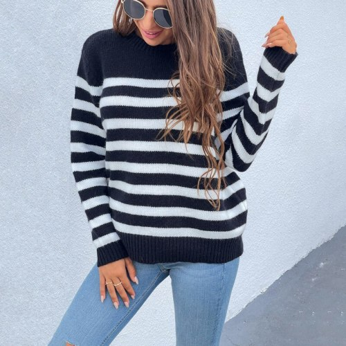 Autumn Winter Knit Women Sweater Pullovers 2021 Fall O-Neck Loose Thick Striped Printing Pullovers Casual Women Sweater