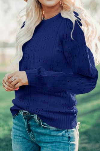 Elegant Solid Hollow Long Sleeve Sweater Autumn New Women Fashion O-Neck Sweaters 2021 Vintage Lantern Sleeve Slim Knit Pullover