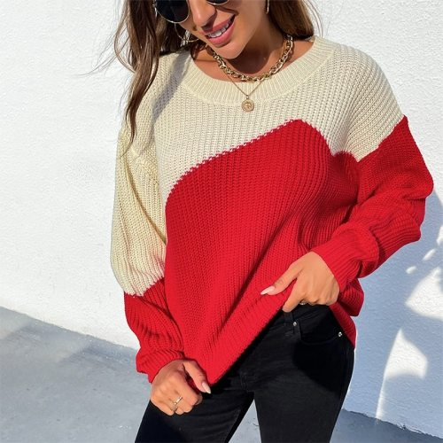 Patchwork Sweater Pullover Women Autumn Winter O Neck Long Sleeve Chic Casual Loose Sweaters Jumper Female Oversized Knitted Top