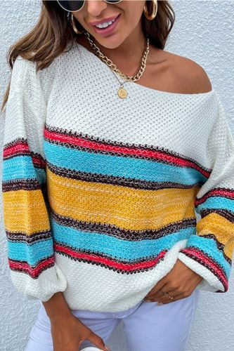 Autumn rainbow striped jumper womens sweaters  winter 2021 new pullovers women's contrast color collar sweater pullover Street