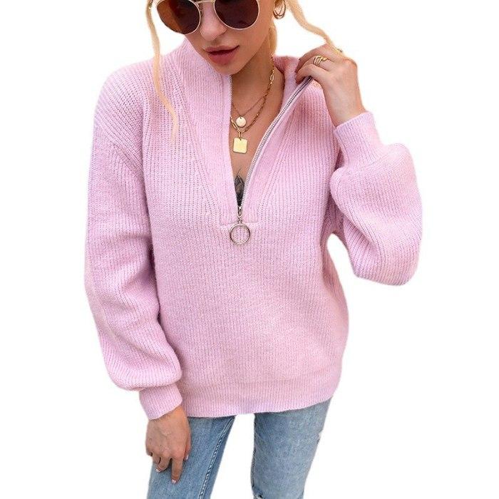 Autumn Warm soft knitted sweaters Women's Winter 2021 New V-neck Knit Sweater female Zipper Lantern Sleeve pullovers jumper