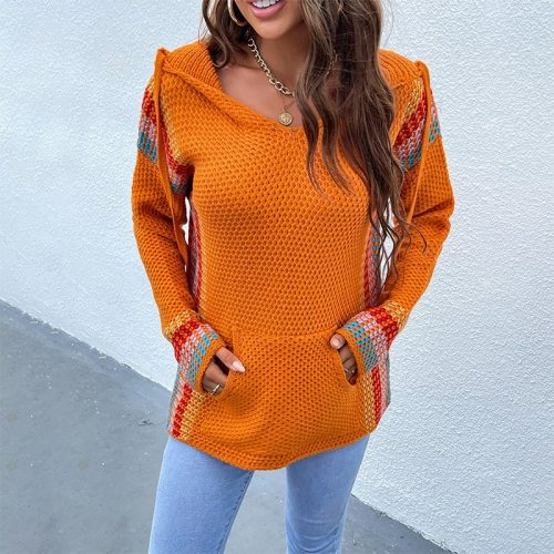 Autumn Women Hooded Sweater V-neck Long Sleeve Striped Knitted Sweater Casual Jumpers 2021 New Female Pullover Hoodies