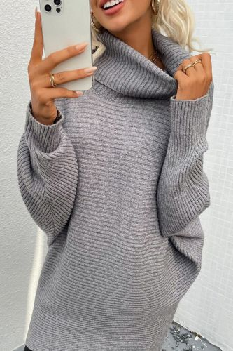 Soft Elegant knitted long Pullovers Women's sweater for Autumn 2021 winter new solid color two-lapel bat sleeve sweater jumpers
