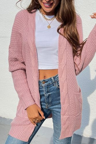 2021 autumn and winter new twist pocket mid-length knitted cardigan jacket